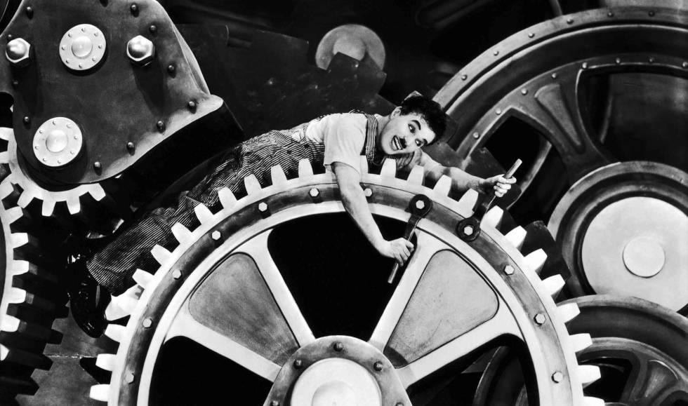 Charles Chaplin en Tiempos modernos.