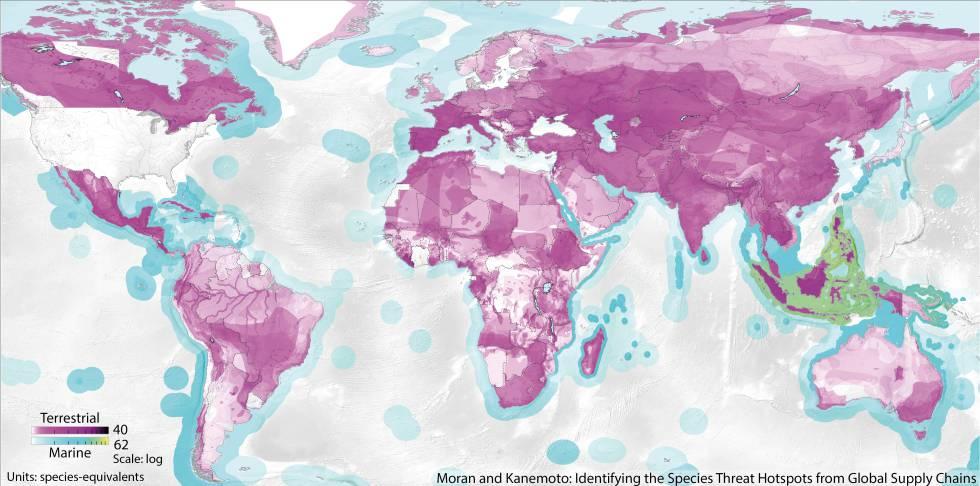 Mapa de los lugares con especies amenazadas en relación con el consumo de bienes en EE UU.