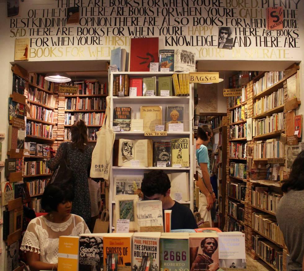 Una tienda de libros de segunda mano en Madrid.