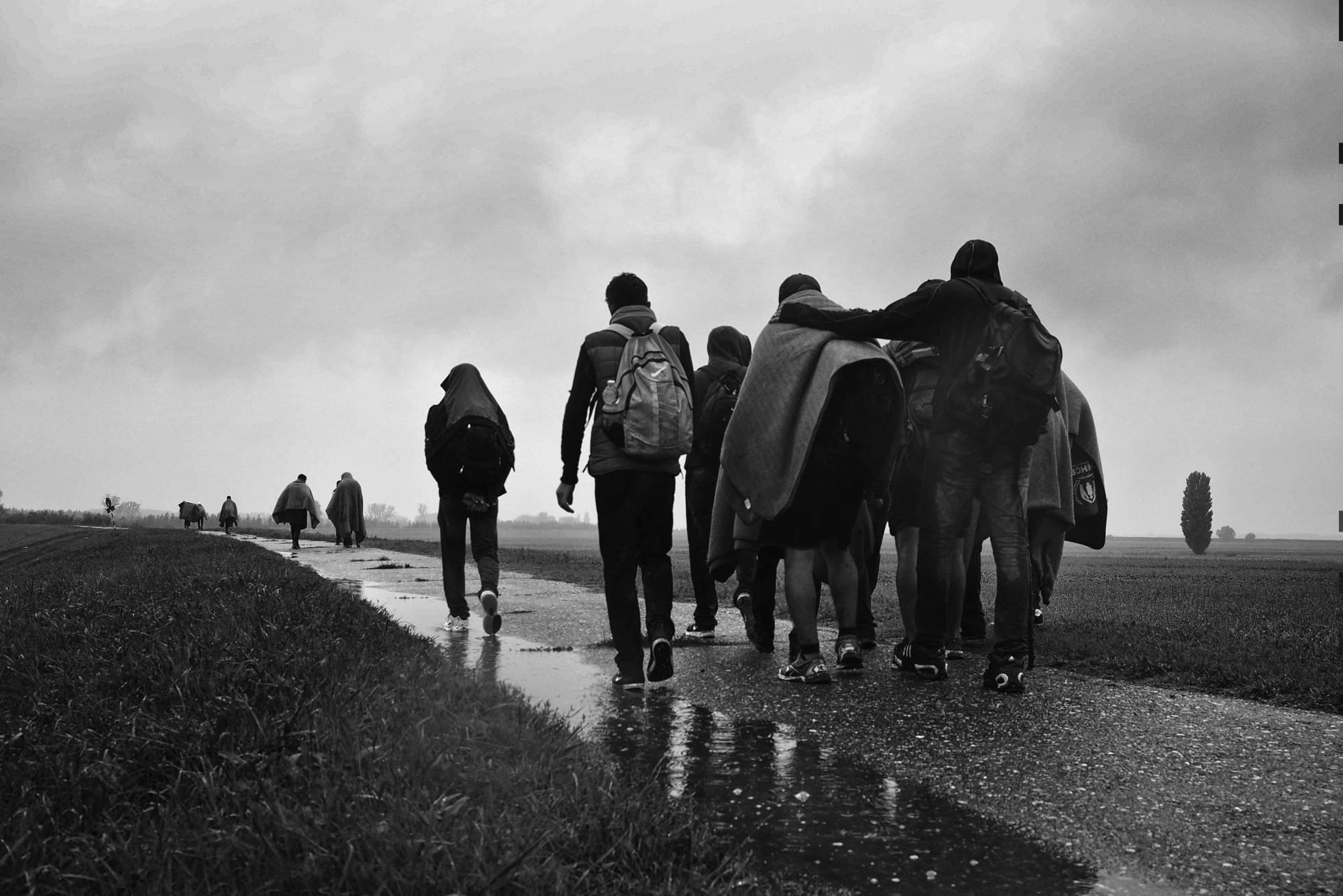 Refugiados en la frontera entre Serbia y Hungría. ANDREJA RESTEK