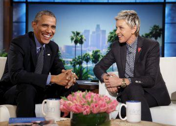 Barack Obama y Ellen DeGeneres en su programa el pasado 11 de febrero.
