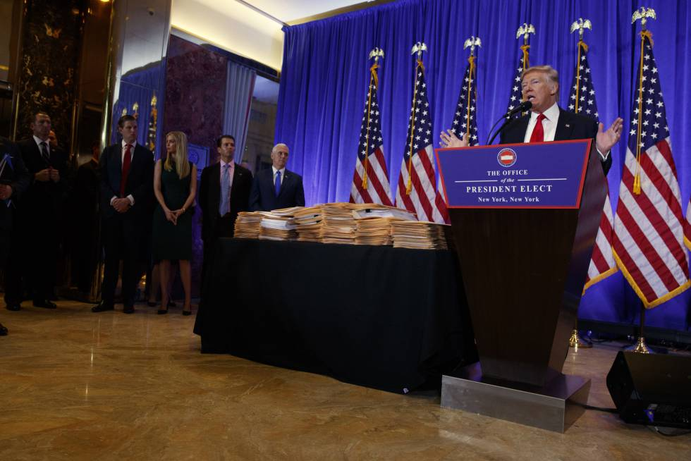 Donald Trump, durante a conferência de imprensa em Nova York.