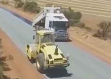 La construcción de una carretera, a vista de dron