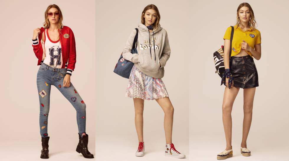 La modelo Gigi Hadid posa con tres de los looks de su segunda colección junto a Tommy Hilfiger.