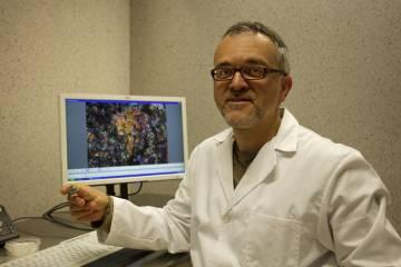 Josep Maria Trigo sostiene el fragmeno de meteorito analizado.