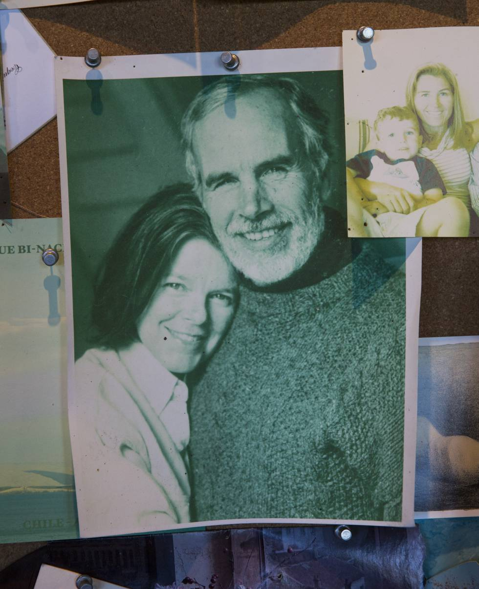 A small portrait of Douglas Tompkins and his wife Kristine McDivitt Tompkins, the couple behind the project, in their office in El Socorro