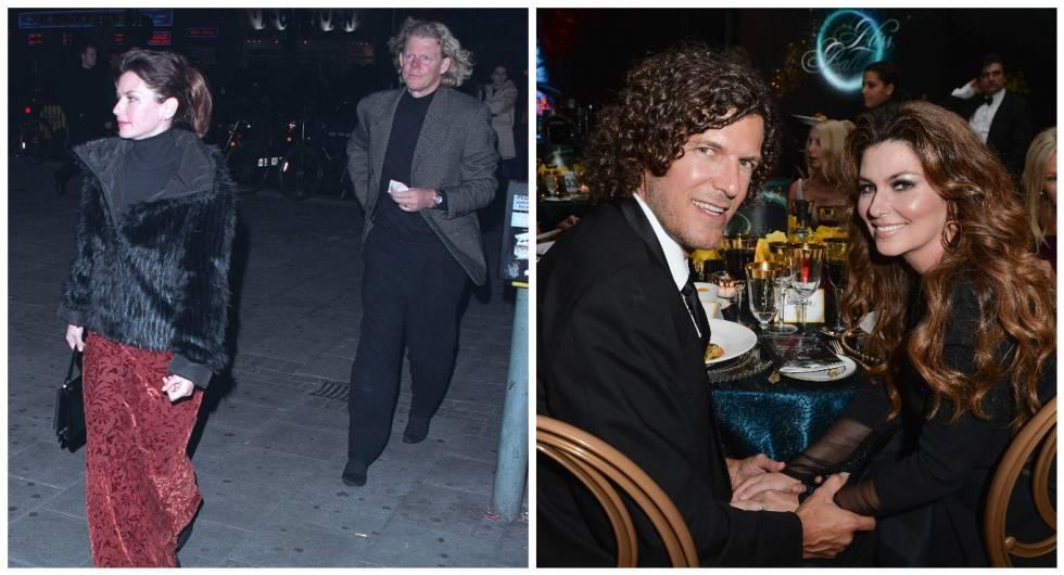 A la izquierda, Shania y el productor musical Robert Mutt (su primer marido). A la derecha, Shania y su actual marido Frederic Thiebaud en una gala organizada por la fundación The Dilawri en Toronto (2014).