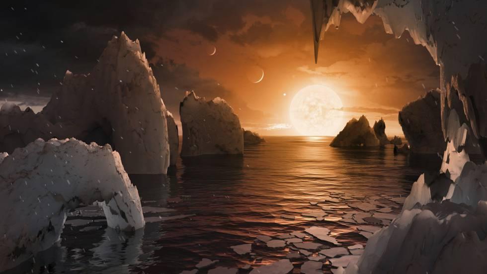 Recreación de la superficie del exoplaneta Trappist-1f.