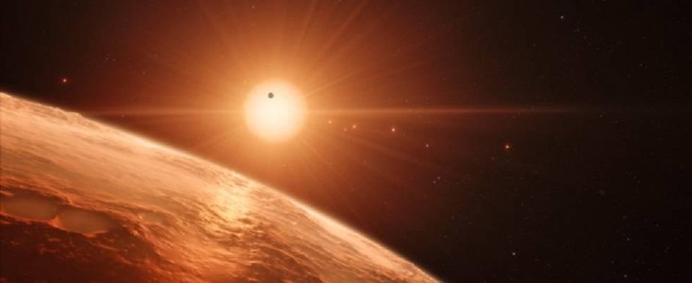 Recreación de uno de los planetas de Trappist-1.