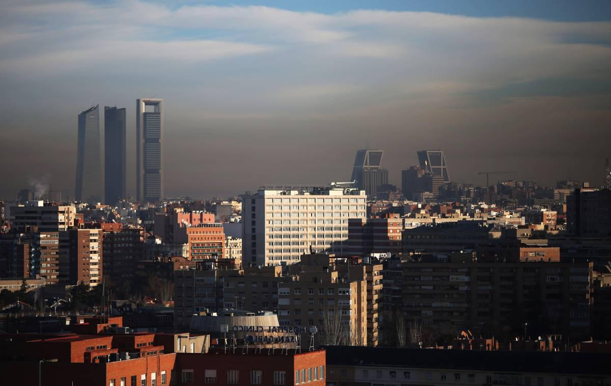 Contaminación en el centro de Madrid, en enero.