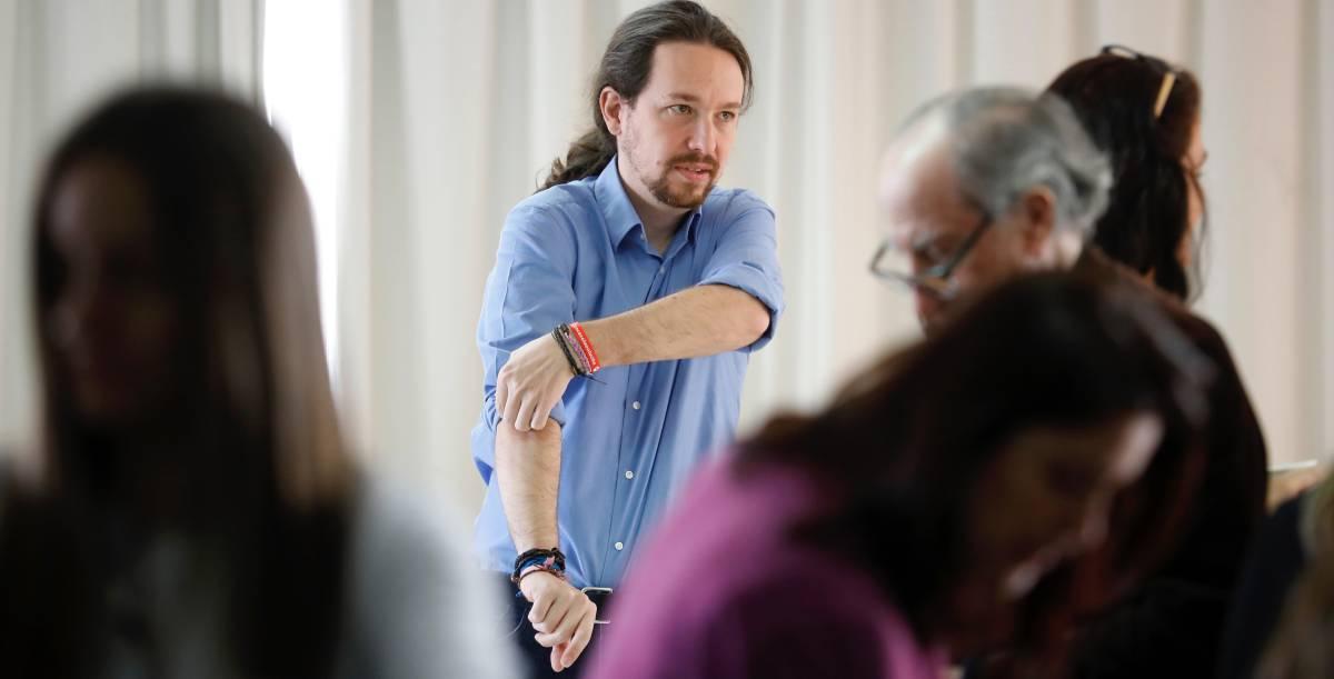Pablo Iglesias en una asamblea ciudadana de Podemos.