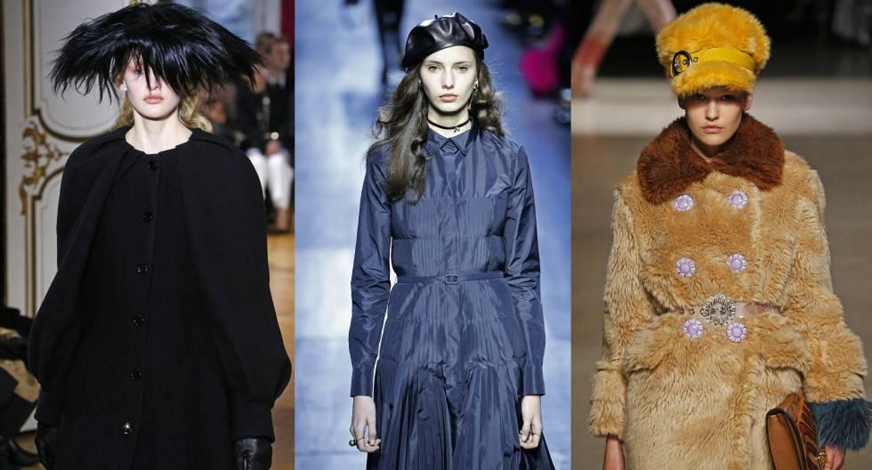 De izquierda a derecha: sombreros de las colecciones de Galliano, Dior y Miu Miu presentadas en la pasada Semana de la Moda de París.