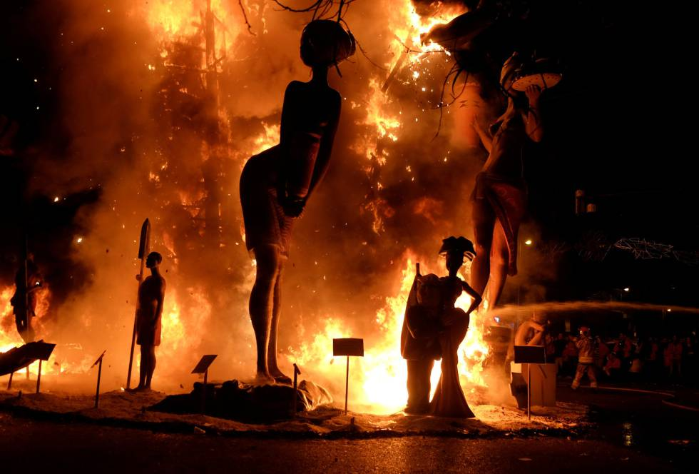 Figures of a Fallas monument burn during the finale of the Fallas festival.