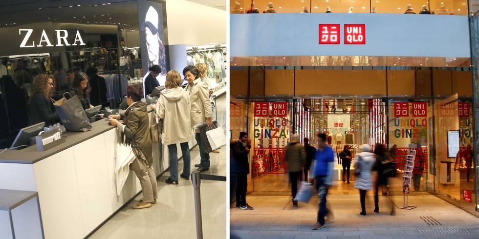 Tienda de Zara en San Sebastián y, a la derecha, entrada a uno de los locales de Uniqlo en Tokyo.