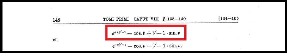 Fórmula de Euler que aparece en la obra de Leonhard Euler