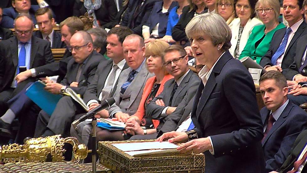 Theresa May, ayer en una intervención en la Cámara de los Comunes.