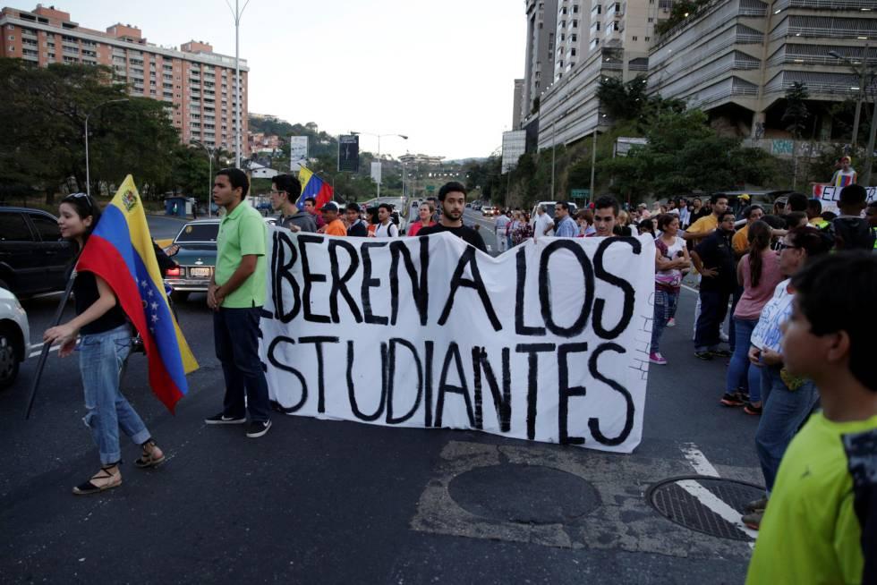 Manifestación contra el régimen de Nicolás Maduro en el viernes en Caracas.