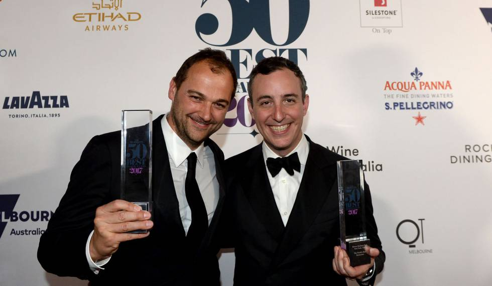 Chef Daniel Humm (l) and Will Guidara, co-proprietors of Eleven Madison Park, after winning the Best Restaurant award.