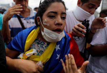 A protester in Caracas on Wednesday.