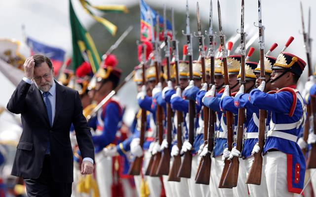 Rajoy, a su llegada al Palacio de Planalto en Brasilia.
