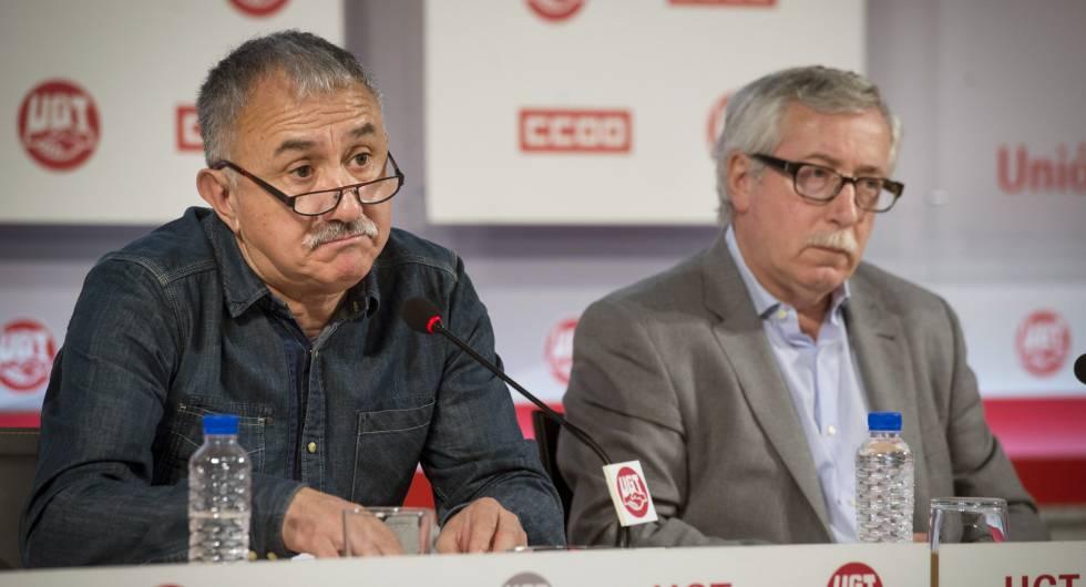 Los secretarios generales de CCOO y UGT, Ignacio Fernández Toxo y Pepe Álvarez, respectivamente.
