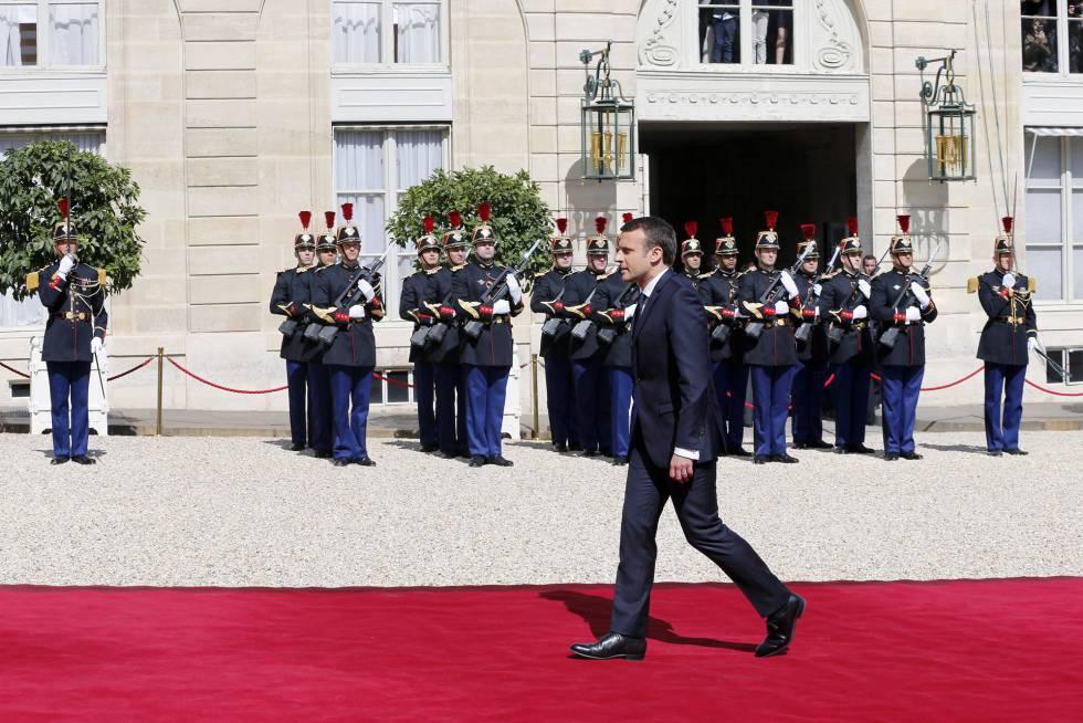Emmanuel Macron, ayer durante su toma de posesión como presidente de Francia.