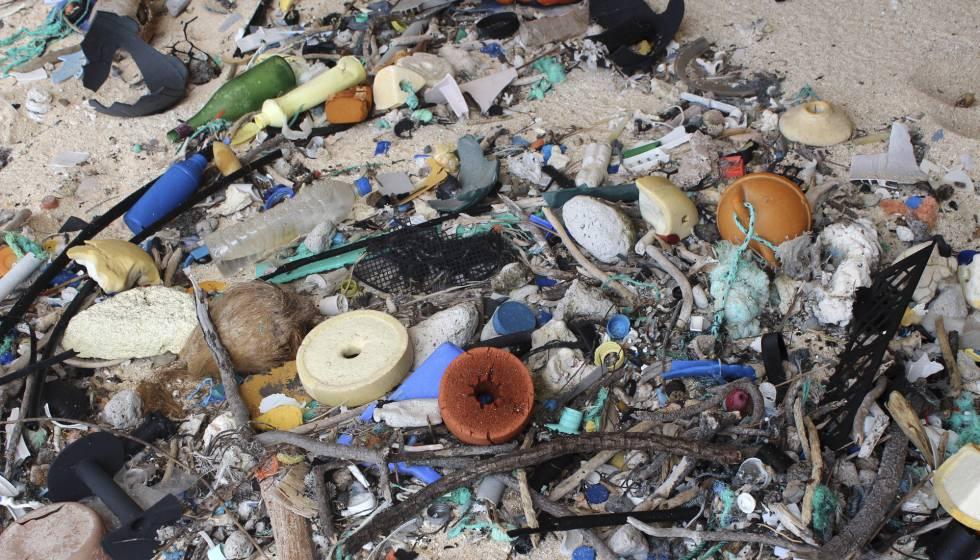 Basura acumulada en la arena de la isla Henderson, en 2015.