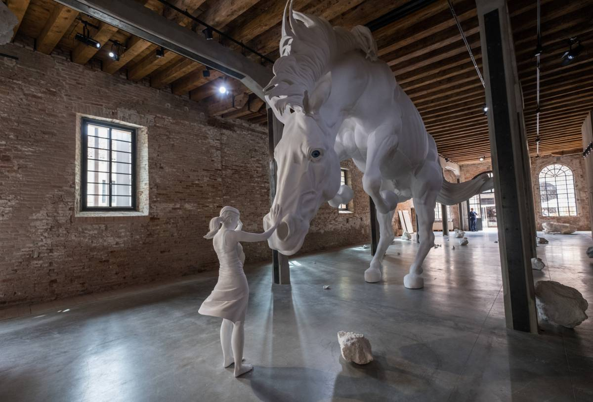 "VENICE, ITALY - MAY 10:  General view at the Argentinian Pavilion with the installation by Claudia Fontes ""El Problema del Caballo"" seen on May  10, 2017 in Venice, Italy. The 57th International Art Exhibition of La Biennale di Venezia will be open to the public from May 13 to November 26.  (Photo by Marco SecchiGetty Images)"