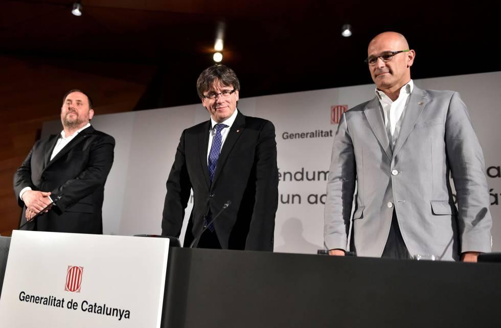 Junqueras, Puigdemont y Romeva, ayer en Madrid.