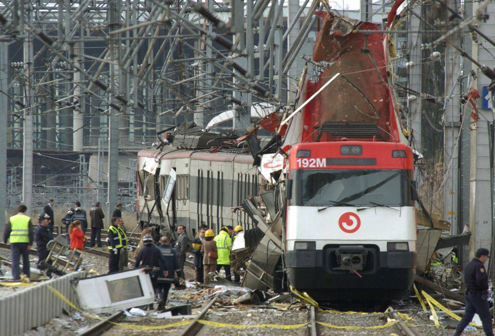 One of the blown out trains at the Atocha bombing in 2004.