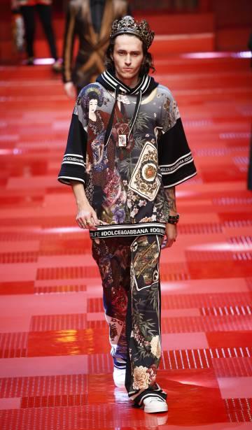 Braison Cyrus, hermano de la cantante Miley Cyrus, en el desfile de Dolce&Gabbana en Milán de su colección de hombre primavera-verano 2018.