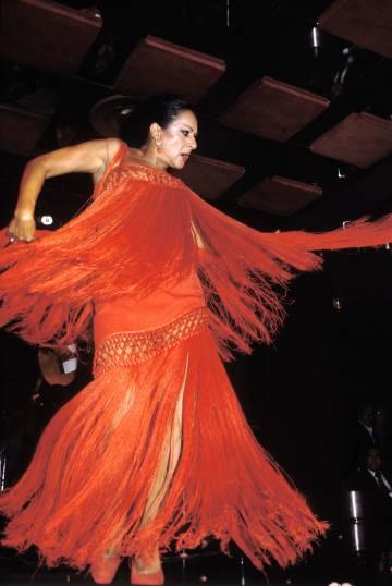 Huracán Lola Flores en una actuación 1978.