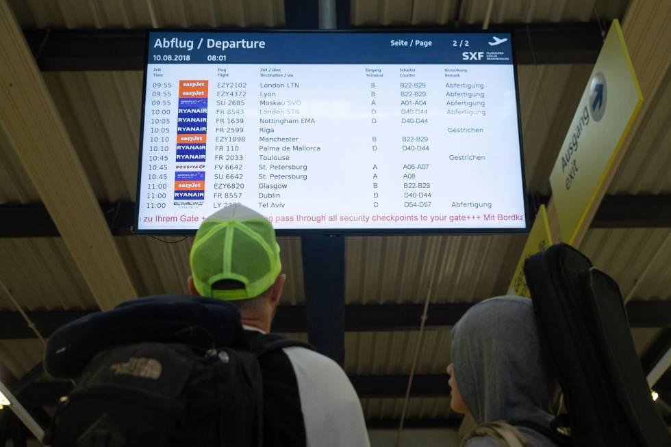 Ryanair flight information at Berlin airport on Friday