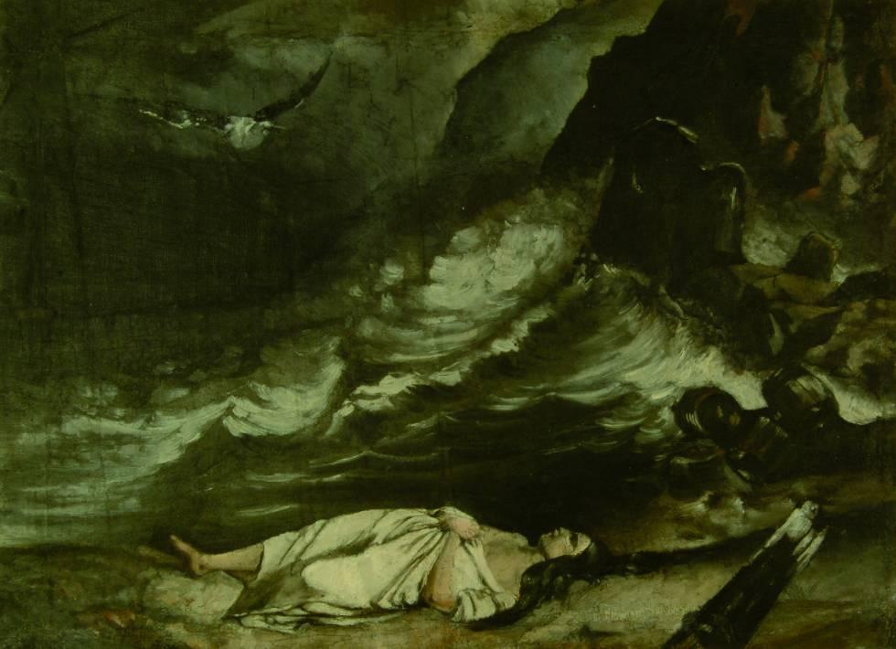 Una pintura al óleo de inspiración romántica, elaborada por un joven Cajal.