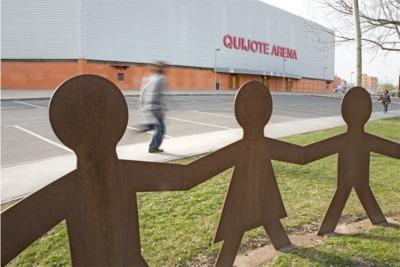 Pabellón de balonmano Quijote Arena, donde comienza la vía verde de Poblete.