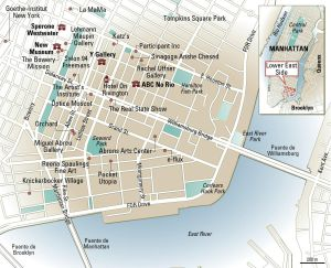 Mapa del barrio neoyorquino de Lower East Side.