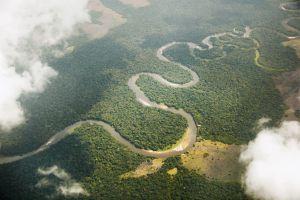Vista aérea de la selva tropical en la República del Congo, en África central.