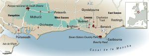 Mapa del sur de Inglaterra.