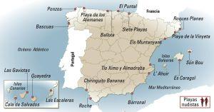 Mapa de playas nudistas de España.