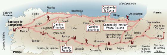 Mapa de los caminos de Santiago.