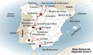 La ruta del emperador Carlos VI por España.
