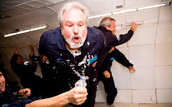 Ingravidez en un vuelo de Zero Gravity, en Cabo Cañaveral, Estados Unidos