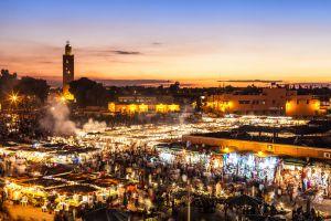 La plaza de Yemá el Fna, en Marrakech (Marruecos).