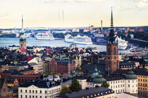 Cruceros en el puerto de Estocolmo, en Suecia.