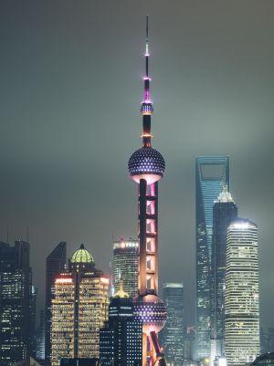 El área de Pudong, con la torre de la televisión Oriental Pearl, símbolo de la zona financiera de la ciudad.