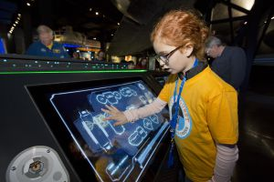 Una de las atracciones interactivas del Kennedy Space Center.