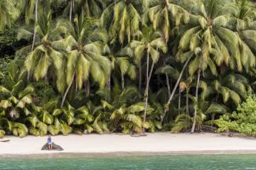 Playa en isla Ranchería, en el parque nacional de Coiba, patrimonio mundial, en Panamá.