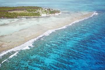 Panorámica del atolón Turneffe, en Belice.