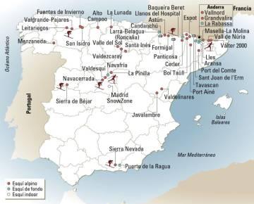 Mapa de estaciones de esquí en España y Andorra.