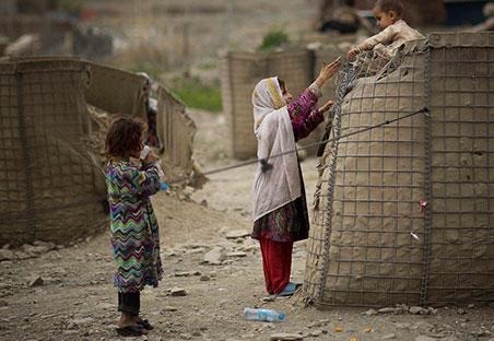 Niños en un campamento de refugiados